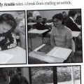 The author at age 16, sitting in her high school journalism class and wearing an old Vandals t-shirt.