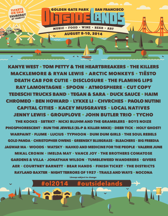 Outside Lands 2014 lineup announced (Kanye West, Tom Petty, the Killers)