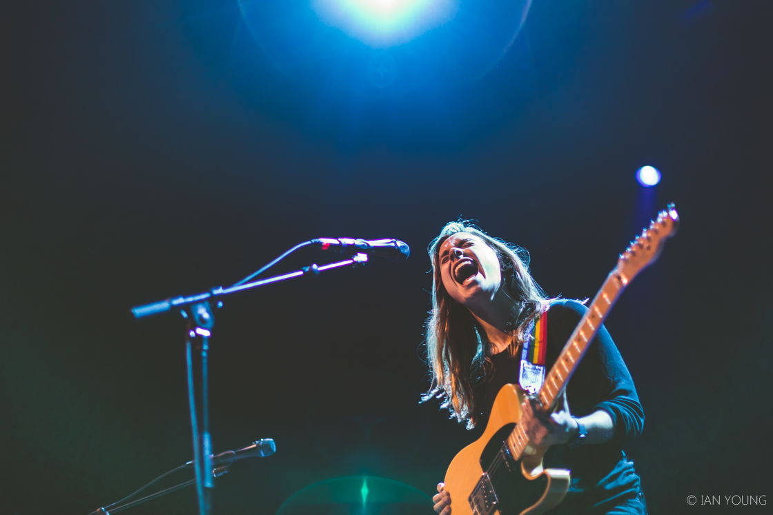 Julien Baker, Phoebe Bridgers and Lucy Dacus as boygenius at the Fox Theater, by Ian Young